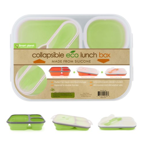 Smart Planet Ec-34 Large 3-Compartment Eco Silicone Collapsible Lunch Box, Green