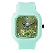 buy Seafoam Fashion Sport Watch Blue Bird On An Evergreen