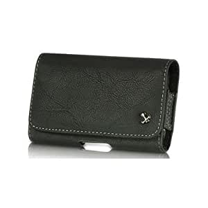 ZTE Savvy (Straight Talk or Net10) Black Horizontal Leather Case Pouch with Built in Metal Clip, Belt Loop & Hidden Magnetic Closure