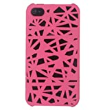 NiceEshop(TM) Hot pink Interwove Line Bird's Nest style slim Snap on Hard cover case fit for iphone 4 4G 4S+Free Screen Protector +Free niceEshop Cable Tie