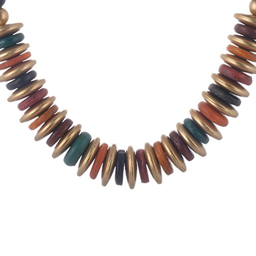 Sanguine Antique Wooden Multicolor Colored Metal Strand Necklace Set For Women
