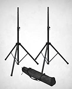 Gator RI-SPKRSTDSET Set of Tubular DJ, PA speaker Tri-Pod stands, Multiple height adjustment levels for QSC, Mackie, and other speakers, PAIR with Bag