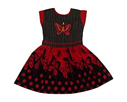 Fashionitz Girl's Printed Cotton Red A-line Frocks, 8-9 Years
