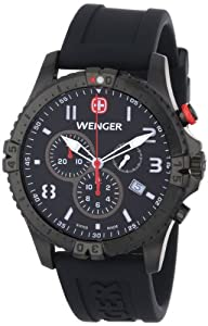 Wenger Men's 77053 Squadron Chrono Black Ion-Plating Rubber Strap Watch