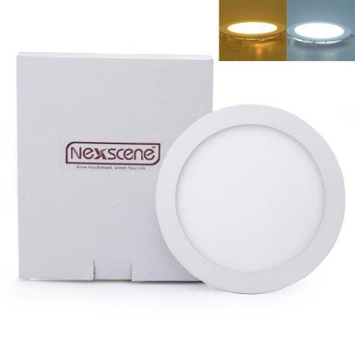 Nexscene 18W 9 Inch Ultra Thin Anti-Fogging Round Ceiling Panel Led Recessed Lighting Trim Downlight (Warm White)