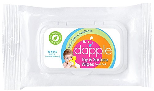 Dapple Travel Size Natural Surface Cleaner Wipes For Highchairs, Toys & More - 20 Ct