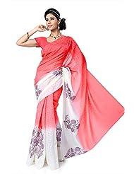 SareeStudio Gorgeous Party Wear Pink Off White Print Designer Net Jacquard Sari