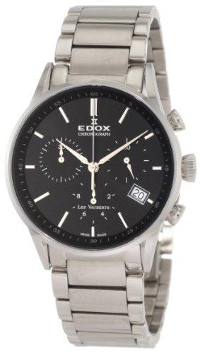 Las mujeres Edox 10402 3N NIN Les Vauberts Relojes de esfera de color negro reloj de pulsera de acero
