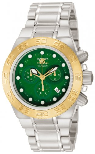 Invicta Midsize Subaqua Sport Swiss Chronograph Green Dial Stainless Steel Bracelet Watch 10855