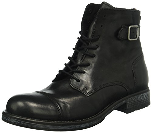 JACK & JONES Jfwsiti Leather Boot, Stivali Combat Uomo, Grigio (Anthracite), 40 EU