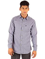 FA French America Light Gray Color Solid Slim Fit Full Sleeve Casual Cotton Shirt For Men