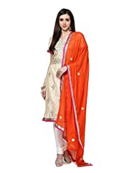 Utsav Fashion Women's Beige Chanderi Cotton Readymade Churidar Kameez-Medium