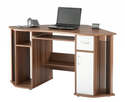LYNDON FRENCH WALNUT CORNER COMPUTER WORKSTATION