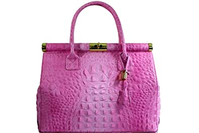 Sac à Main - CUIR VERITABLE - Docteur - Genuine leather bag - CUIR effet Croco (ROSE)