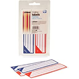 OfficemateOIC Achieva Adhesive Mailing Labels, Blue and Red, (6 Packs of 25 Each) 150 per Box (37008)