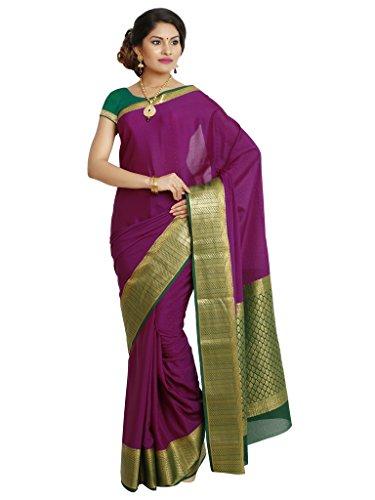 Kaushika Sarees Pure Crepe Traditional Mysore Silk Magenta_Bottlegreen Saree