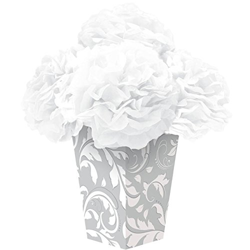 Amscan Beautiful Elegant Scroll Fluffy Flower Party Centerpiece,, Silver