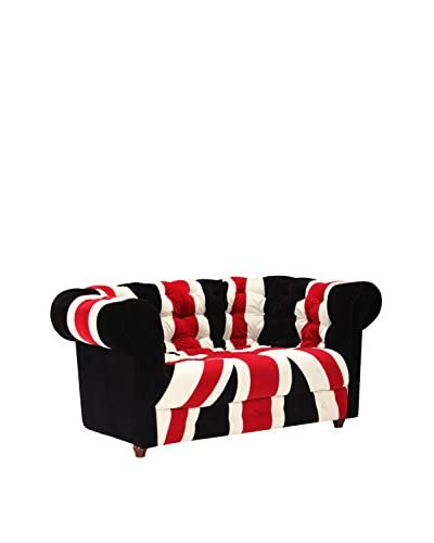 Zuo Union Jack Loveseat, Red/White/Black