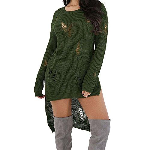 Eiffel Women's Long Sleeve High Low Hem Pullover Knit Sweater Top Blouse Skirt Dress Green
