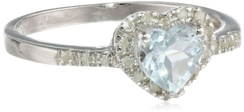 Sterling Silver Aquamarine and Diamond Heart Ring (0.1 Cttw, G-H Color, I2-I3 Clarity), Size 8