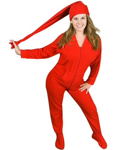 PajamaCity Red Polar Fleece Butt-Flap Footie Pajamas with Red Night Cap for Teens and Adults Size 3 (5'0