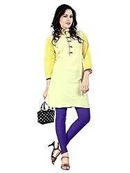 1 Stop Fashion Fancy Yellow Color Cotton Party wear Designer Kurti-BESFK112608A-XL