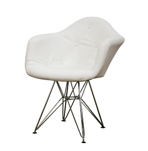 arm chair with button tufted in white leatherette