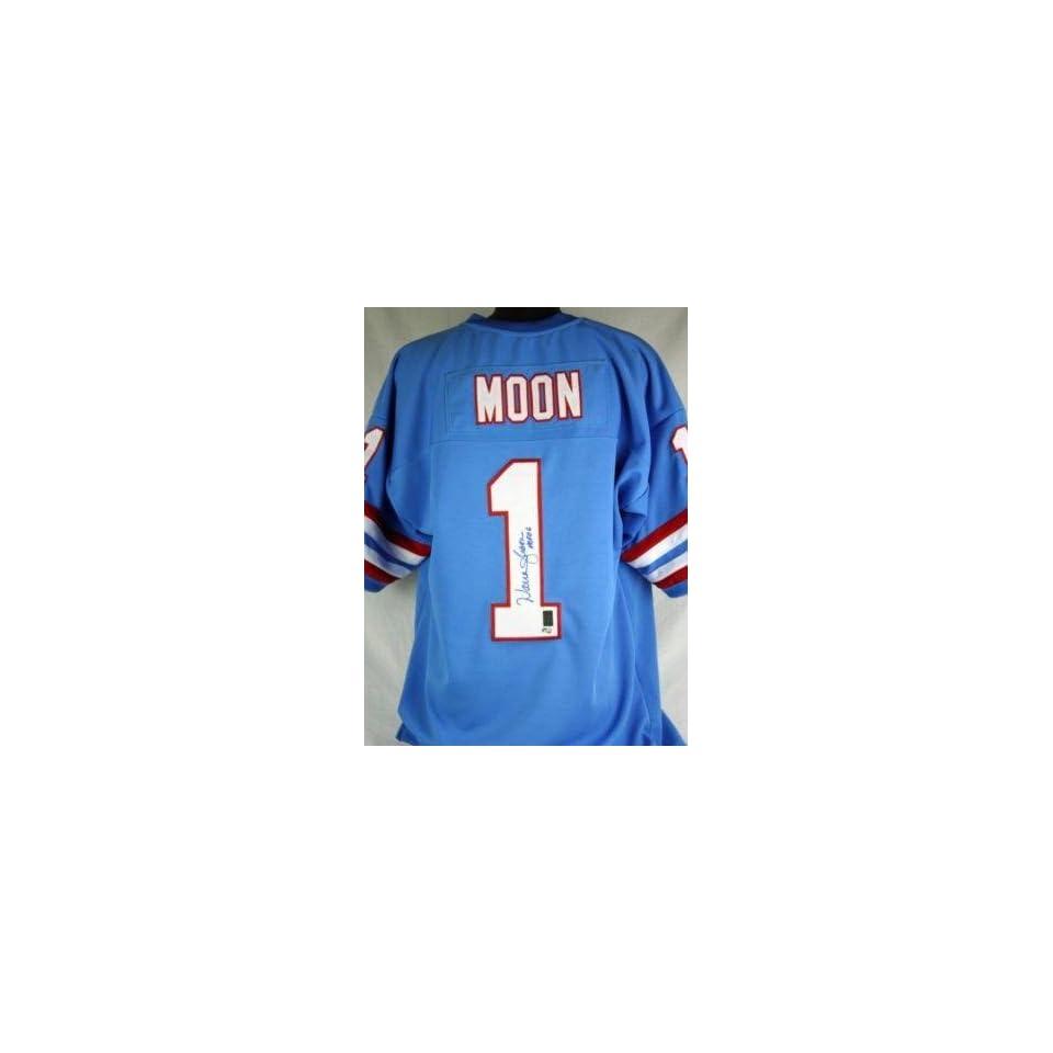 110013acb Warren Moon Autographed Uniform Hof 06 Auth Holo Autographed NFL Jerseys