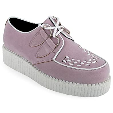 33R New Womens Purple Platform Lace Up Ladies Flat Creepers Goth Shoes Size 5 US