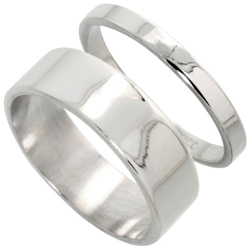 Sterling Silver Flat Wedding Band Ring Set His and Hers 3 mm + 7 mm , size 4