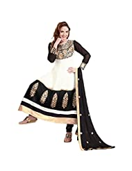 Shreevas White & Black Faux Georgett Anarkali Suit Material With Embroidery Work | STL107