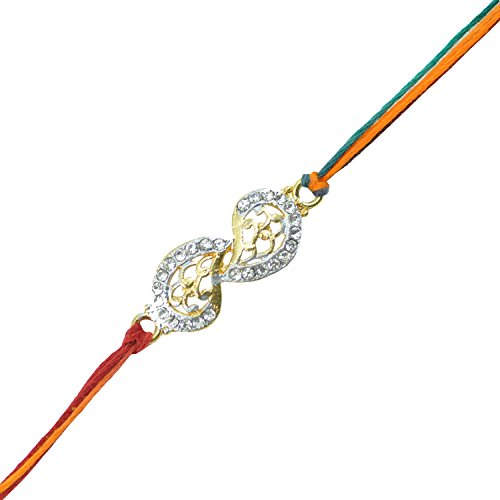 "Alpha Man ""Modern Rakhi Contemporary Miracle"" CZ Diamond 2Rakhi Set"