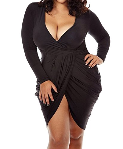 POSESHE Womens Plus Size Deep V Neck Bodycon Wrap Dress with Front Slit XXXL Black