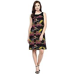 Akkriti by Pantaloons Women A-Line Dress (205000005575228_ Black_ X-Small)