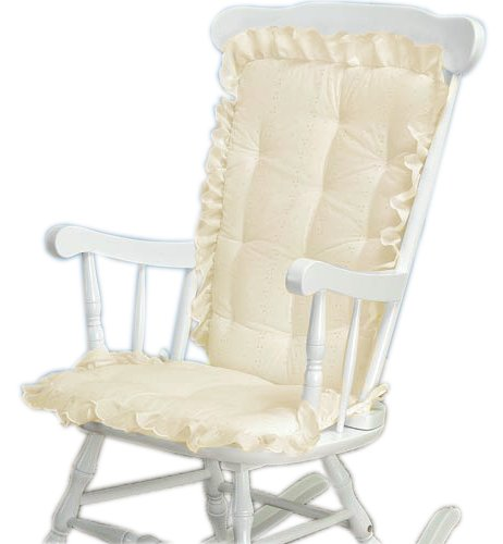 Discount deals baby doll bedding carnation eyelet adult rocking chair cushion pad set ecru - Automatic rocking chair for adults ...