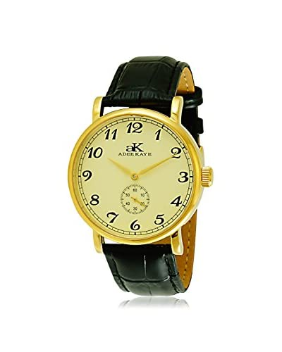 Adee Kaye Women's AK9061-MG/G Vintage-Mechanical Collection Black Leather Watch