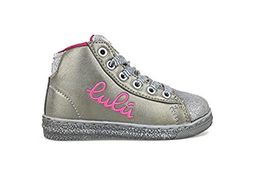 LULU' sneakers con cerniera bambine tessuto / camoscio (36 EU, Grigio / Beige)