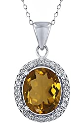 3.40 Ct Oval Whiskey Quartz 925 Sterling Silver Pendant