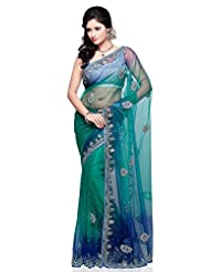 Utsav Fashion Women's Shaded Dark Teal Blue And Blue Shimmer Net Saree With Blouse