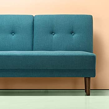 Zinus Juan Mid-Century 51 Inch Armless Sofa Couch / Loveseat, Turquoise