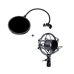 Wanway Shock Mount + Pop Filter,Microphone Mic Shock Mounts and Wind Screen Pop Filter/ Swivel Mount / Mask Shied