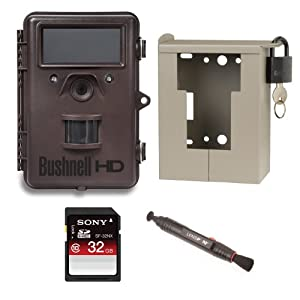 Bushnell 8MP Trophy Cam HD Max Trail Camera OUTFIT - KIT with Bear Safe + LensPen Cleaning System + 32gb SD Memory Card