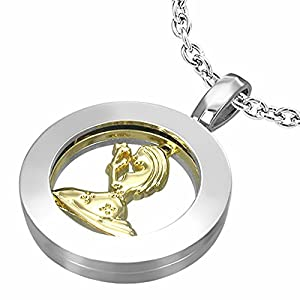 Fashion Alloy 2-tone Virgo Zodiac Sign Inner-roller Circle Pendant