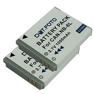 2 x Dot.Foto Batterie de qualité pour Canon NB-6L, NB-6LH - 3,7v / 1000mAh - Entièrement 100% compatibles - garantie de 2 ans [Pour la compatibilité voir la description]