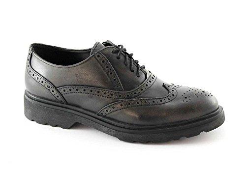 PREGUNTA 24760 antracite nero scarpe donna francesina puntale inglese 39
