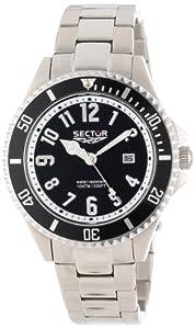 Sector - R3253161025 - 230 - Montre Homme - Quartz Analogique - Cadran Noir - Bracelet Acier Inoxydable Argent