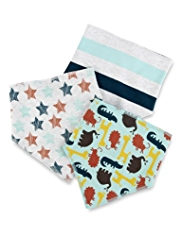 3 Pack Pure Cotton Striped & Animal Print Dribble Bibs
