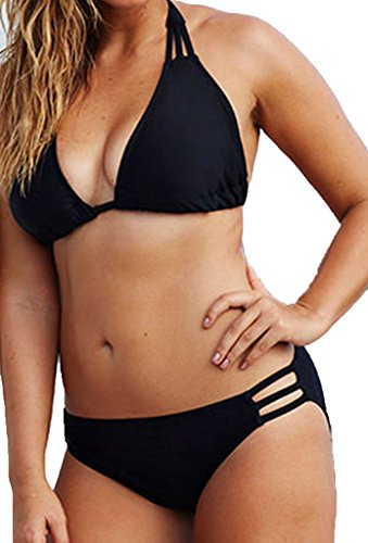 Zkess Women's Summer String Bikini Swimwear Plus Size XX-Large Size Black