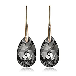 LadyColour Gold Plated Teardrop Drop&Dangle Pierced Earrings, Made With Black Swarovski Crystals