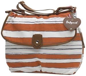 Babymel Diaper Bag, Satchel Stripe Sunset Orange by Babymel